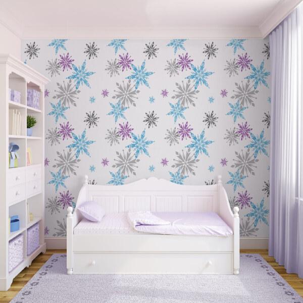 Disney Frozen Snowflake Purple/Blue Metallic Wallpaper