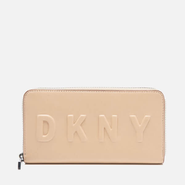 DKNY Women's Debossed Large Zip Around Wallet - Nude