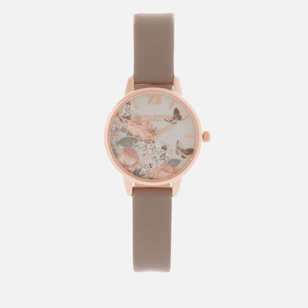 Olivia Burton Women's Signature Floral London Midi Dial Watch - Grey/Rose Gold