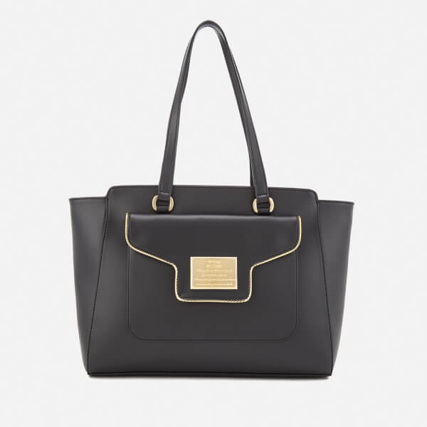 Love Moschino Women's Gold Plate Tote Bag - Black