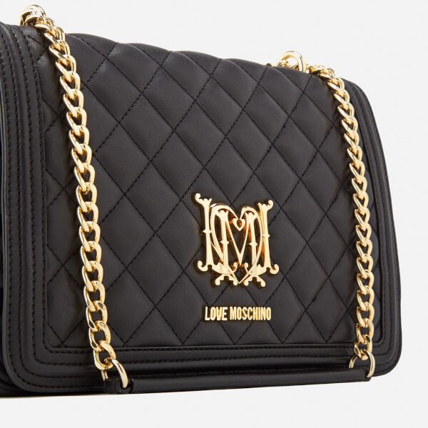 Love Moschino Women s Quilted Medium Flap Shoulder Bag - Black  Image 5 37f9548151