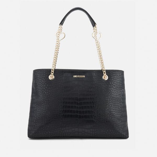 Love Moschino Women's Croc Shopper Tote Bag - Black