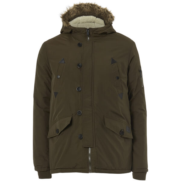 Brave Soul Men's Noel Fur Trim Parka Jacket - Khaki