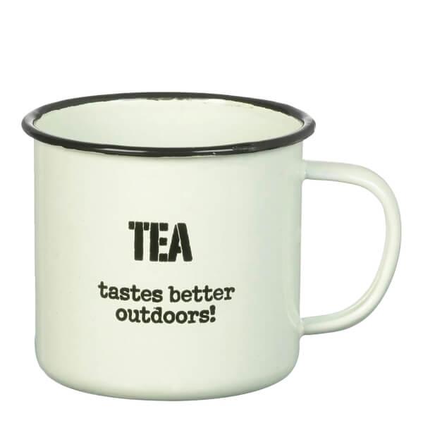 Parlane 'Tea Tastes' Enamel Mug - White (8 x 9cm)