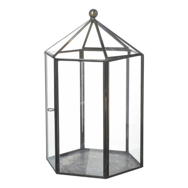 Parlane Bower Glass Lantern - Clear/Metal (24 x 16cm)
