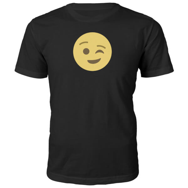 Emoji Unisex Winky Face T-Shirt - Black