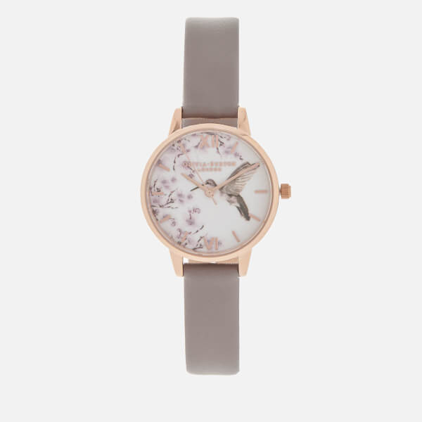 Olivia Burton Women's Painterly Prints Watch - London Grey/Rose Gold