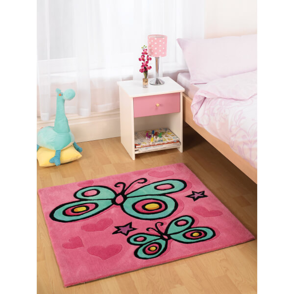 Flair Kiddy Play Rug - Butterfly Pink (90X90)