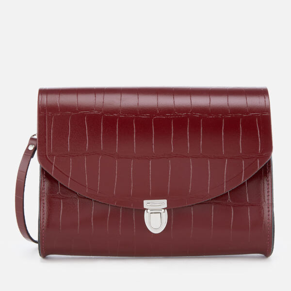 The Cambridge Satchel Company Women's Large Push Lock Bag - Oxblood Patent Croc