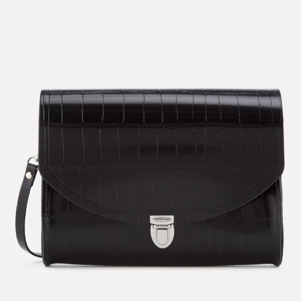 The Cambridge Satchel Company Women's Large Push Lock Bag - Black Patent Croc