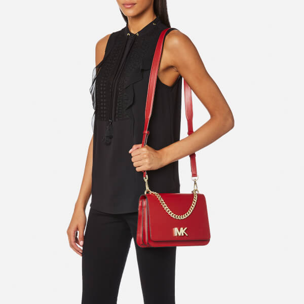 MICHAEL MICHAEL KORS Women s Mott Large Chain Swag Shoulder Bag - Bright Red   Image 3 d337cdd53
