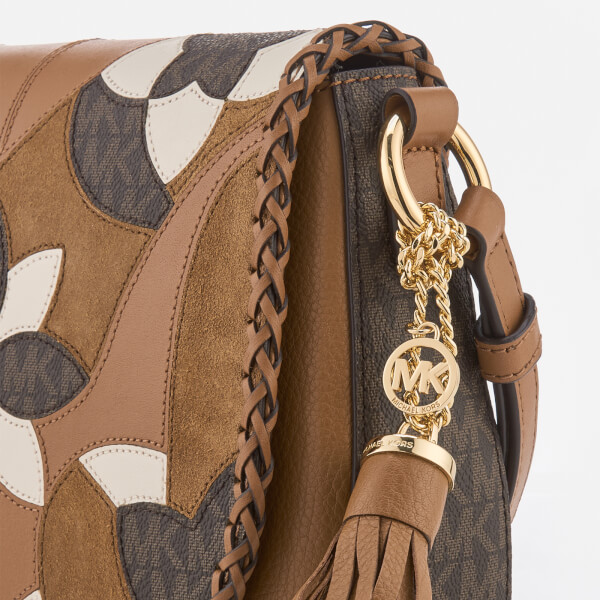 2b6ea229f54a93 MICHAEL MICHAEL KORS Women's Brooklyn Patchwork Medium Saddle Bag - Acorn:  Image 4