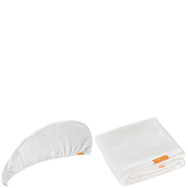 Aquis Lisse Luxe Hair Turban and Hair Towel - White Bundle (Worth £65)