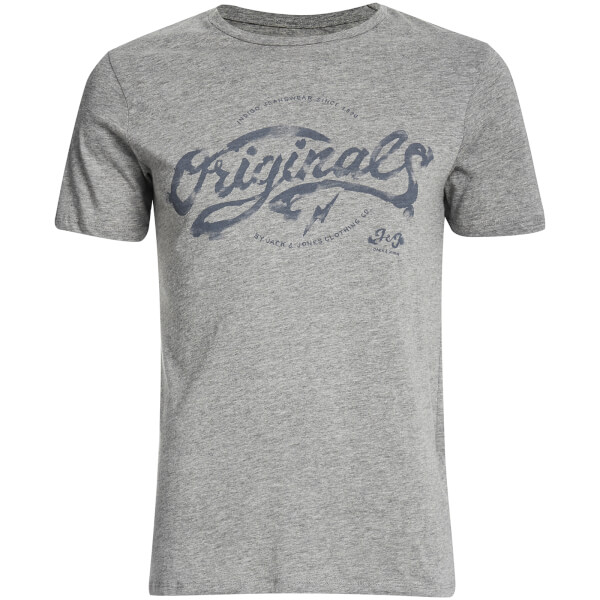 Jack & Jones Men's Originals Miller Slim Fit T-Shirt - Light Grey Marl