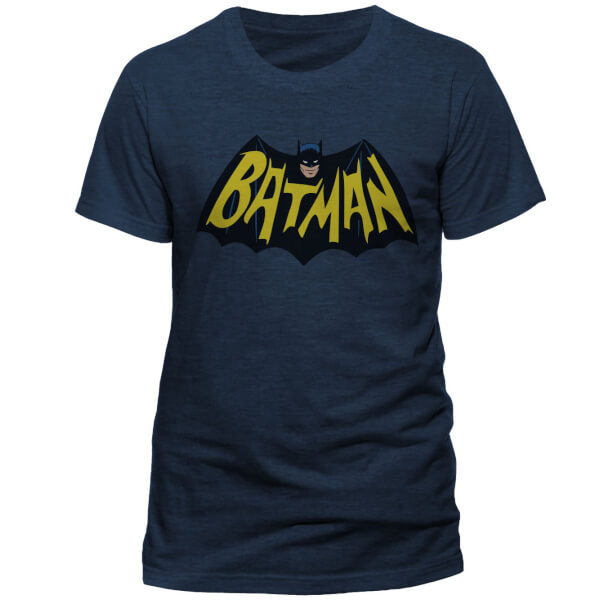 DC Comics Men's Batman 1966 Logo T-Shirt - Navy