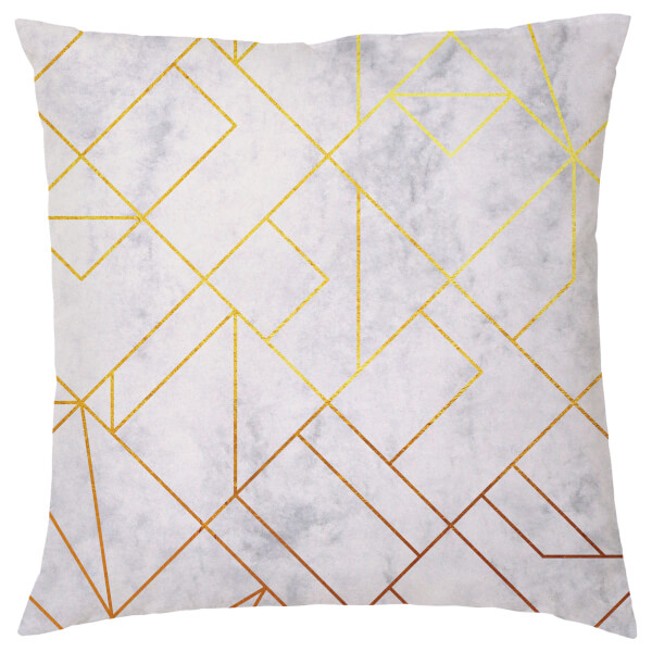 Marble Geometric Cushion - Grey