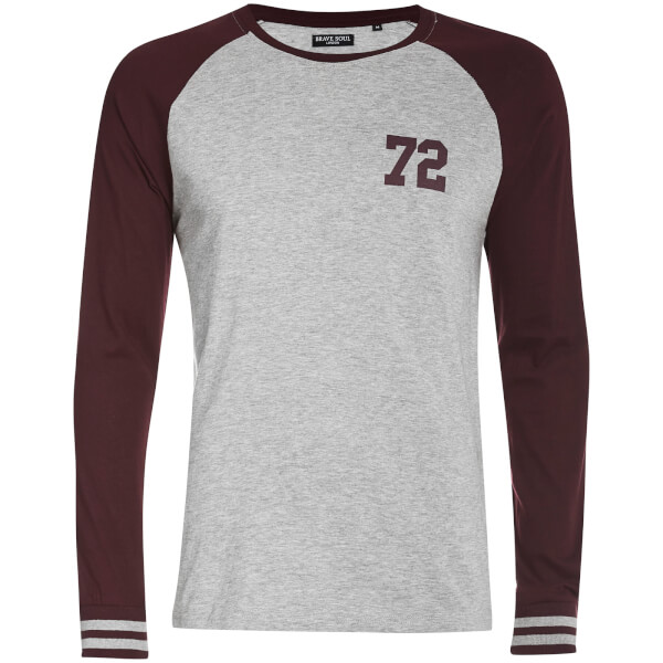 Brave Soul Men's Granite Long Sleeve Top - Grey/Burgundy