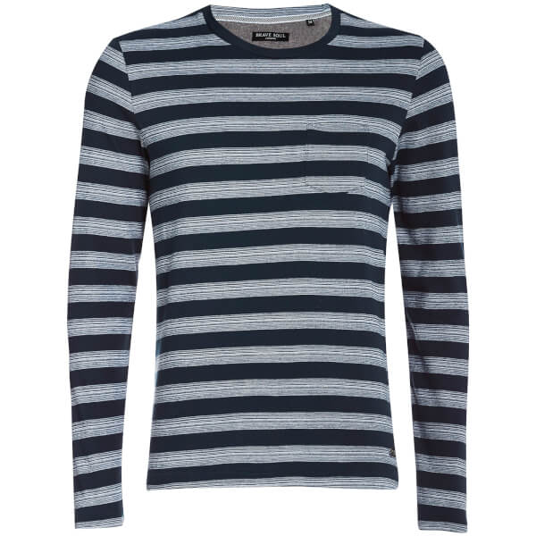 Brave Soul Men's Slate Stripe Long Sleeve Top - Navy
