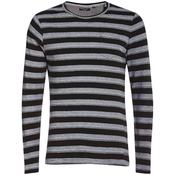 Brave Soul Men's Slate Stripe Long Sleeve Top - Black