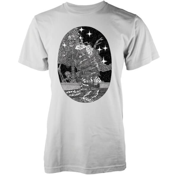 Abandon Ship Men's Skeleton At Sea T-Shirt - White