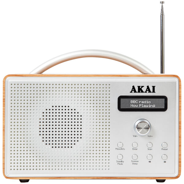 Akai Beech Wood DAB Radio with LCD Screen - Oak