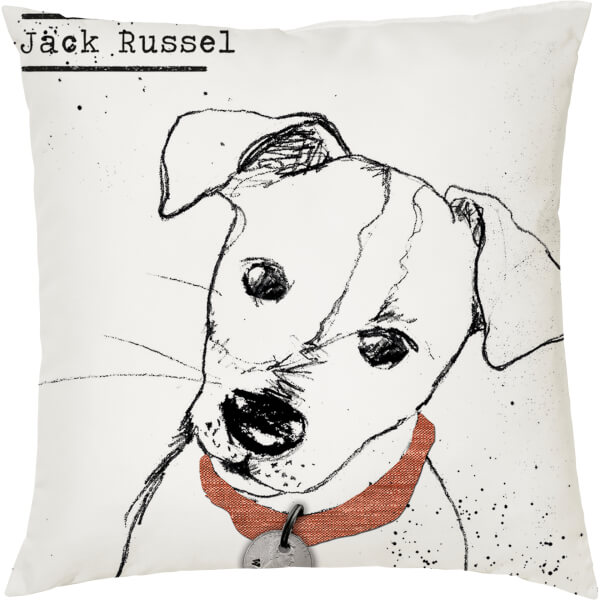 Jack Russell Cushion - White (45 x 45cm)