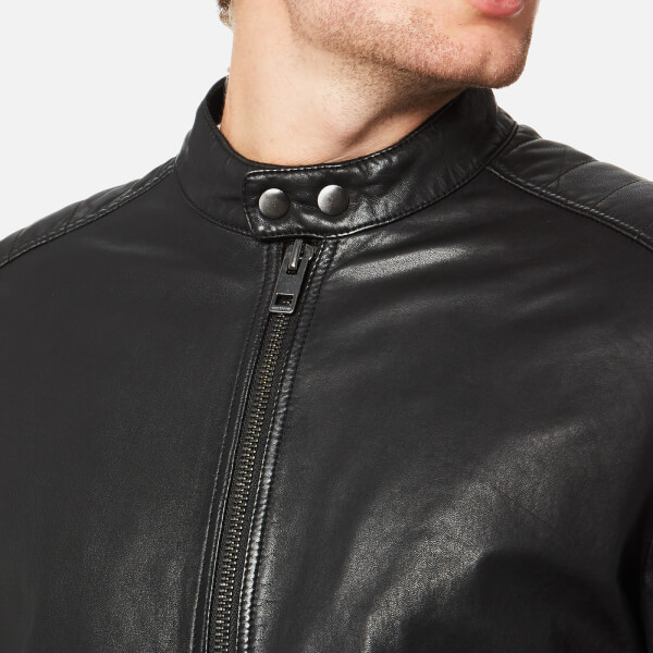 d0cb6e9144c BOSS Orange Men s Jeeper Leather Biker Jacket - Black Clothing ...