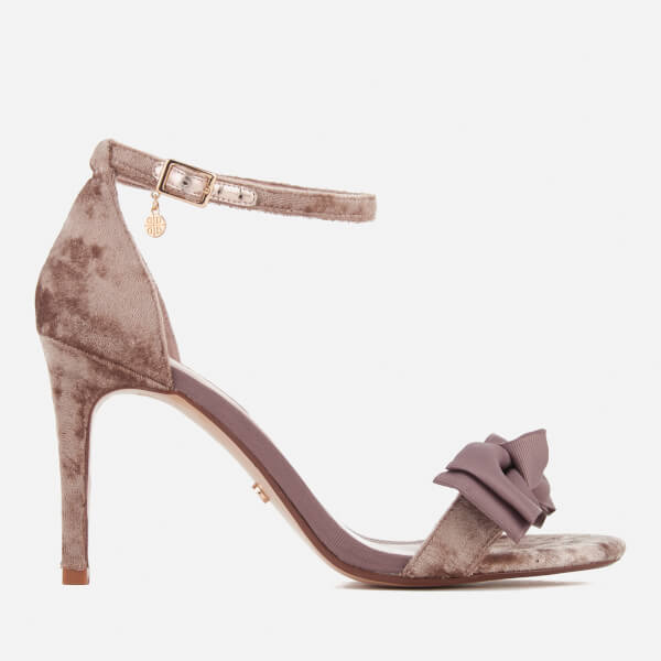 Dune Women's Moella Velvet Bow Barely There Heeled Sandals - Mink