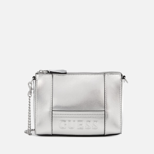 9e5c769eeaac Guess Women s Kamryn Mini Convertible Cross Body Bag - Silver  Image 1