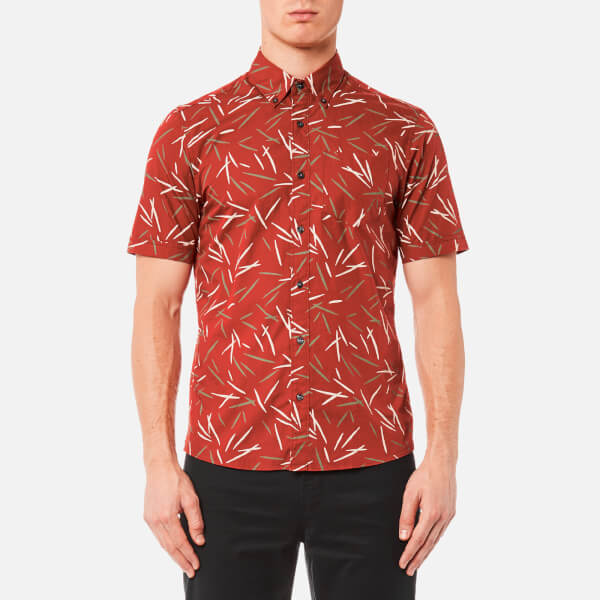 Michael Kors Men's Short Sleeve Slim Dax Print Shirt - Paprika