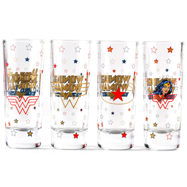 Mini Glasses Set of 4 - Wonder Woman (Stars)