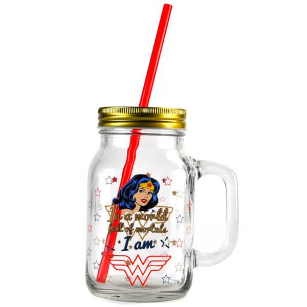 Bocal à Paille Mason Jar - Wonder Woman (Étoiles)