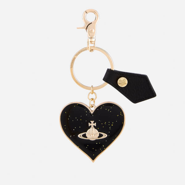 Vivienne Westwood Key Chain for Women, Key Ring, Black, Leather, 2017, One size