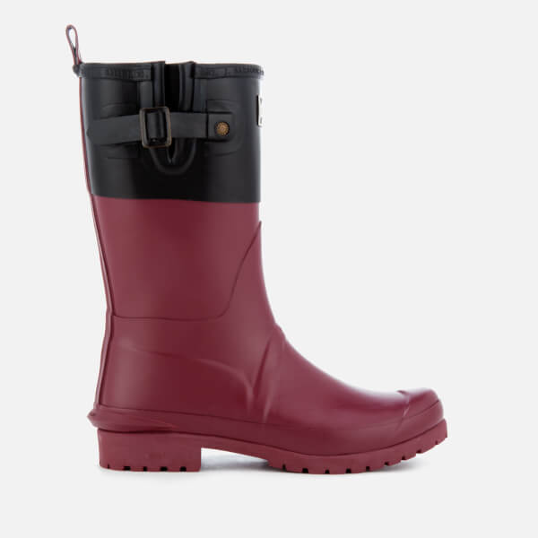 Barbour Women's Colour Block Short Wellies - Black/Burgundy