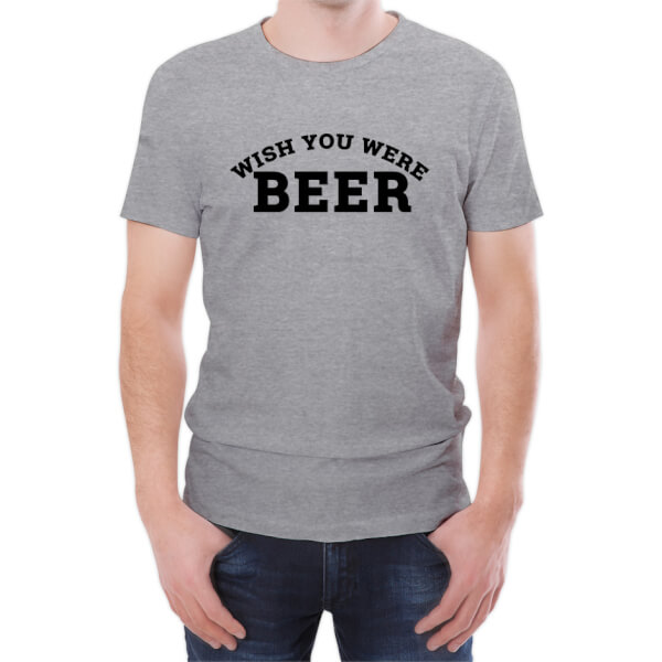 T-Shirt Homme Wish You Were Beer -Gris