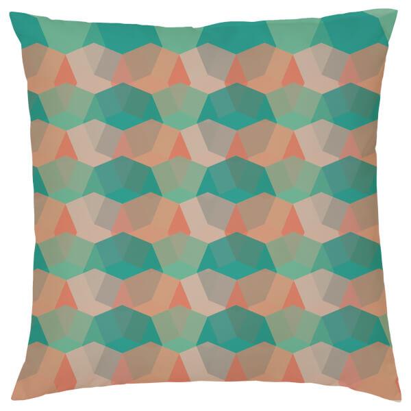 Geometric Repeat Cushion - Teal & Orange