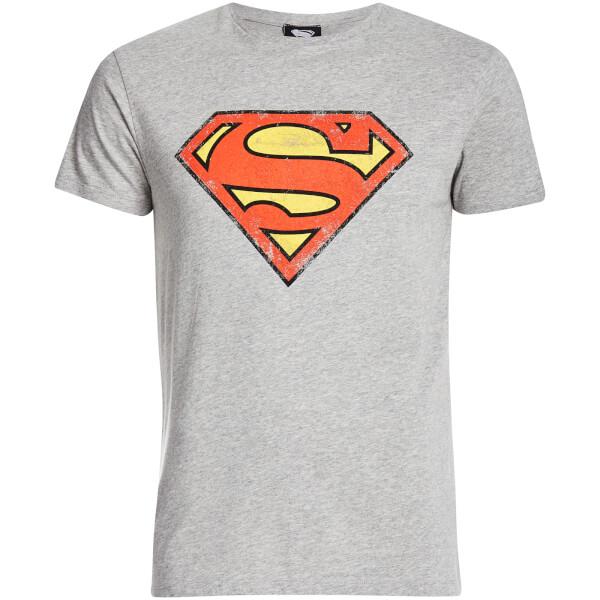 DC Comics Men's Superman Distressed Logo T-Shirt - Grey