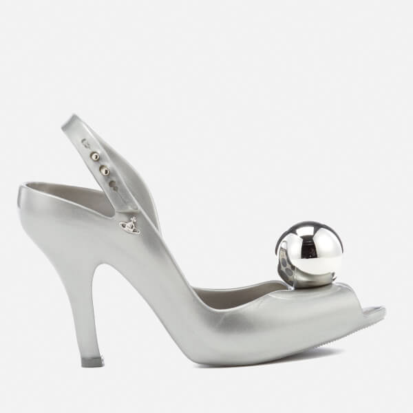 84f18c6bb96ef9 Vivienne Westwood for Melissa Women s Lady Dragon 18 Heeled Sandals -  Silver Globe  Image 1