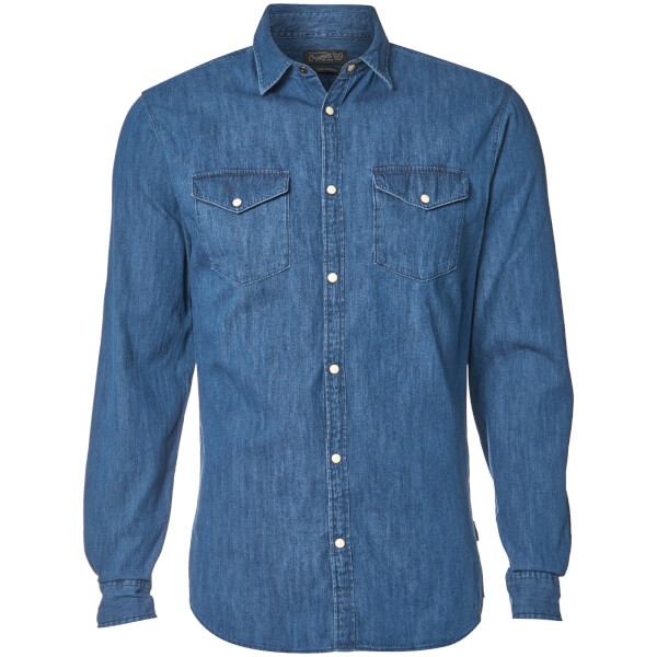 Jack & Jones Originals Men's New One Long Sleeve Denim Shirt - Dark Blue