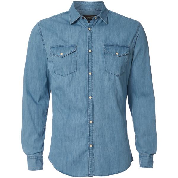 Jack & Jones Originals Men's New One Long Sleeve Denim Shirt - Light Blue