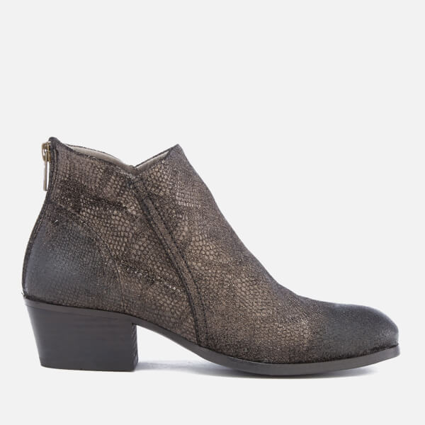 Hudson London Women's Apisi Leather Metallic Heeled Ankle Boots - Pewter