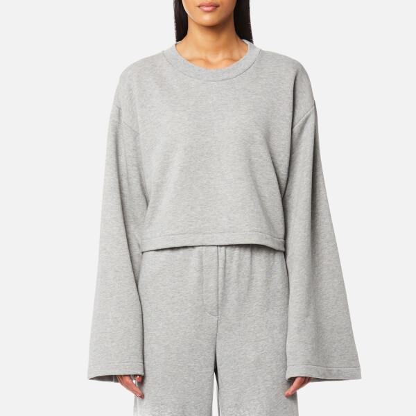 T by Alexander Wang Women's Tie Back Long Sleeve Crop Sweatshirt - Heather  Grey: Image