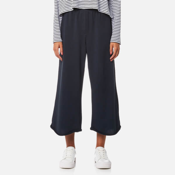 T by Alexander Wang Women's Pull On Wide Leg Cropped Pants - Navy