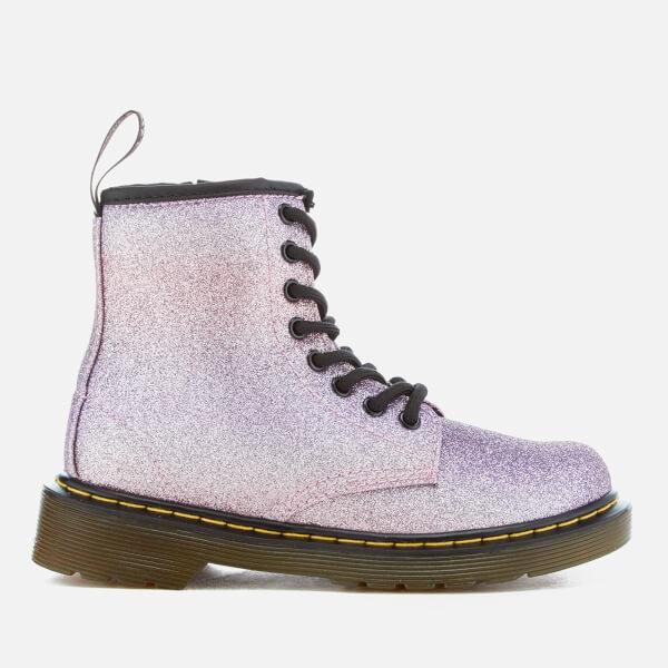 Dr. Martens Kids' Delaney Glitter 8-Eye Lace Up Boots - Pink/