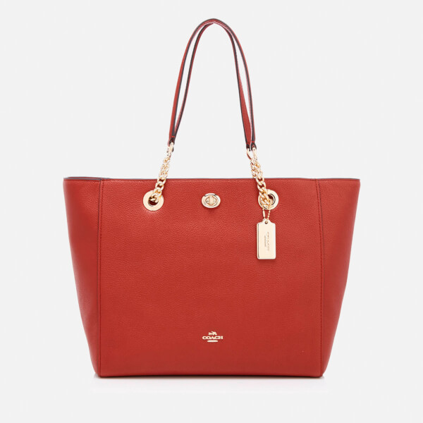 Coach Women's Turnlock Chain Tote Bag - Terracotta