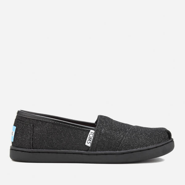 TOMS Kids' Seasonal Classic Glimmer Slip On Pumps - Black