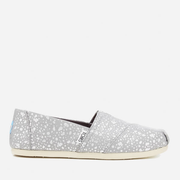 TOMS Women's Seasonal Classic Foil Snow Spots Slip On Pumps - Silver
