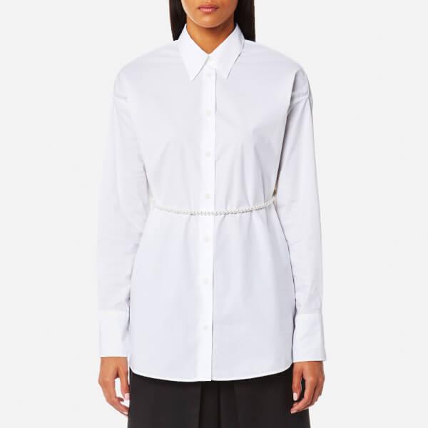 MM6 Maison Margiela Women's Parachute Poplin Shirt with Tie Pearls - White:  Image 1