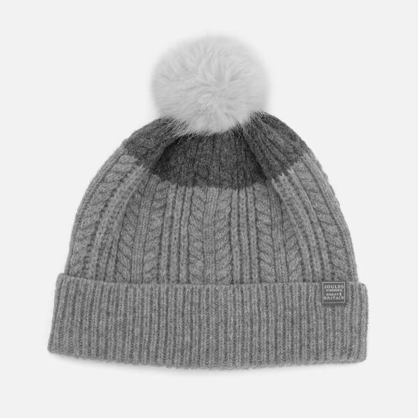 Joules Women's Fine Cable Bobble Hat with Faux Fur Pom - Light Grey