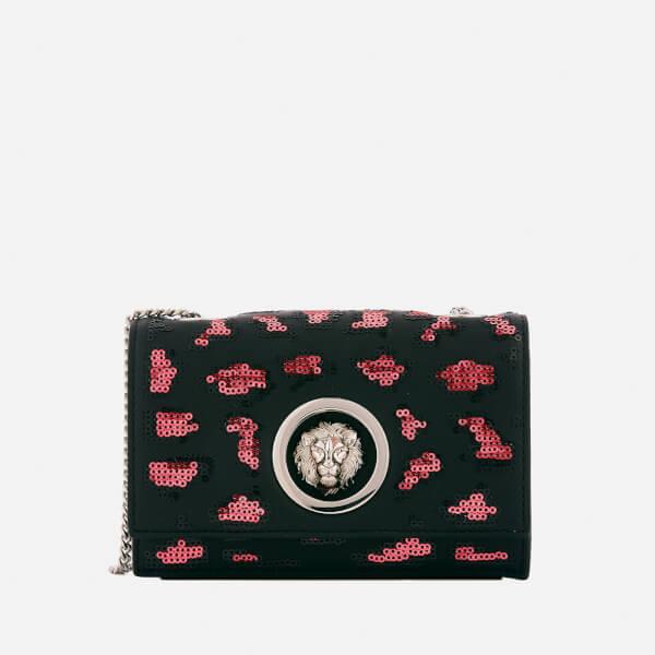 Versus Versace Women's Lion Leopard Sequin Small Chain Clutch Bag - Red/Black